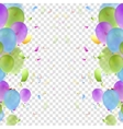 Bright balloons and confetti background vector image