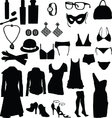 female clothing silhouettes vector image