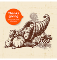 Hand drawn vintage Thanksgiving Day sketch vector image