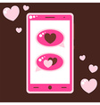 Pink mobile phone with love messages vector image