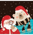 Santa Claus with polar bear vector image