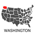 state of washington on map of usa vector image