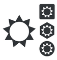 Sun icon set monochrome vector image