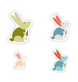 Set of paper stickers on white background rabbit vector image