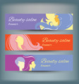 banners with stylish woman silhouette vector image