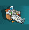 astronaut the audience with beer and popcorn vector image