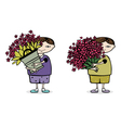 boy with flower vector image