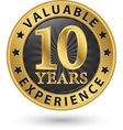 10 years valuable experience gold label vector image