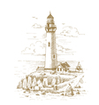Lighthouse on the coast drawn by hand vector image vector image