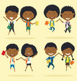 cheerfu african americanl young boys and girls vector image