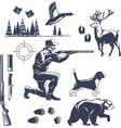 Hunting vintage style icons set vector image