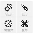 set of 4 editable tool icons includes symbols vector image