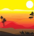 silhouettes of African desert vector image