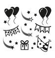 birthday party icons mono symbols vector image