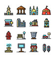 thin line city environmen set vector image