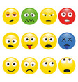 set multicolored smileys with emotions vector image