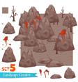 Rocks and volcanoes set vector image