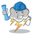 architect thunder cloud character cartoon vector image