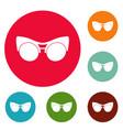 black eyeglasses icons circle set vector image