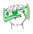 Cash money in hand vector image