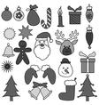 Christmas Drawing Ornament Gray set vector image