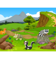 funny animal cartoon in the jungle with landscape vector image
