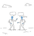 two abstract businessman talking chat box bubble vector image