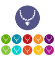 necklace icons set flat vector image