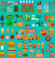 Big set of food icons Food truck Market vector image