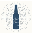 Cold beer hipster vintage label vector image