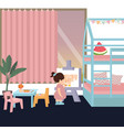 cute kid in painting in his her bedroom play alone vector image