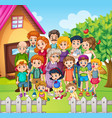 Family members standing in the yard vector image