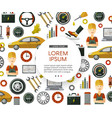 flat car service icons pattern poster vector image