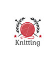 knitting icon wool yarn clew needles vector image