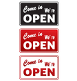 Set of Open signs isolated on white vector image