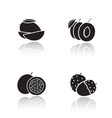Sliced fruits drop shadow icons set vector image