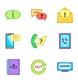 Online consultation icons set cartoon style vector image