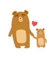 Brown Bear Dad Animal Parent And Its Baby Calf vector image
