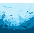 coral reef and sea creatures vector image
