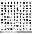100 beverage icons set in simple style vector image