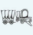 Vintage wagon to transport vector image