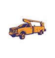 Cherry Picker Mobile Lift Truck Woodcut vector image vector image