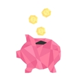 pink polygonal piggy bank with golden coin vector image