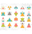 Set of colored geometric shapes triangles lines vector image