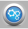 blue metal button with three cogwheel vector image