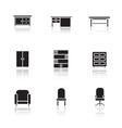 Furniture black icons set vector image