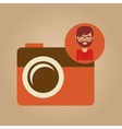 photographic camera face man hipster color vintage vector image