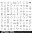 100 family icons set outline style vector image