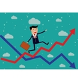 Businessman Running Red Arrow Graph Up vector image