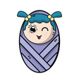 cute baby girl with hairstyle in the blanket vector image